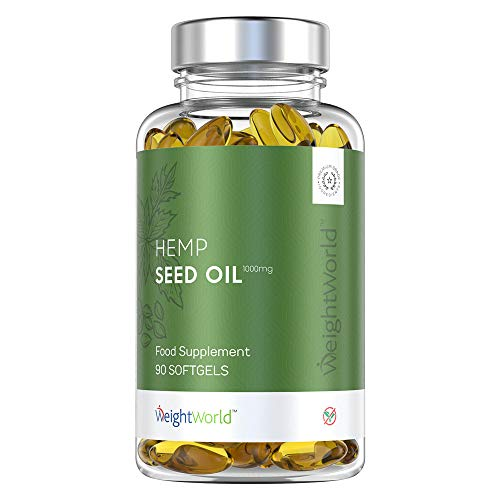 Premium Hanfsamenöl Kapseln - Essential 1000mg Hanf Oil hochdosiert, Mit Omega 3 & 6, Für mehr Wohlbefinden mit maximaler Absorptionsfähigkeit, Vitamine & Mineralstoffe - 90 Softgel Hanfkapseln