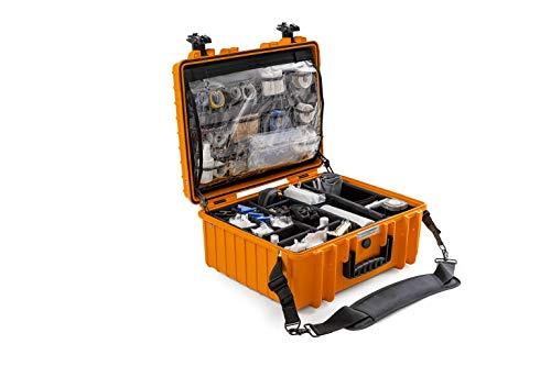 B&W - Maletín de transporte para exteriores tipo 6000, color naranja, para rescate y uso doméstico - impermeable según la certificación IP6, resistente al polvo, irrompible e irrompible