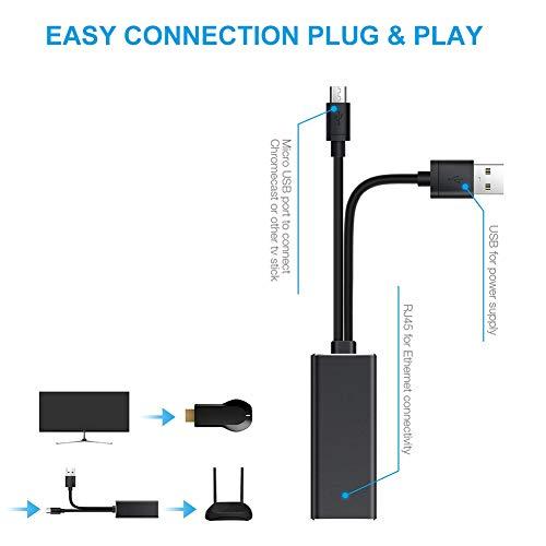 Ethernet Adapter für Chromecast und TV Stick Micro USB zu RJ45 LAN Netzwerkkarten Netzwerk Adapter mit USB 2.0 Netzkabel für Stromversorgung