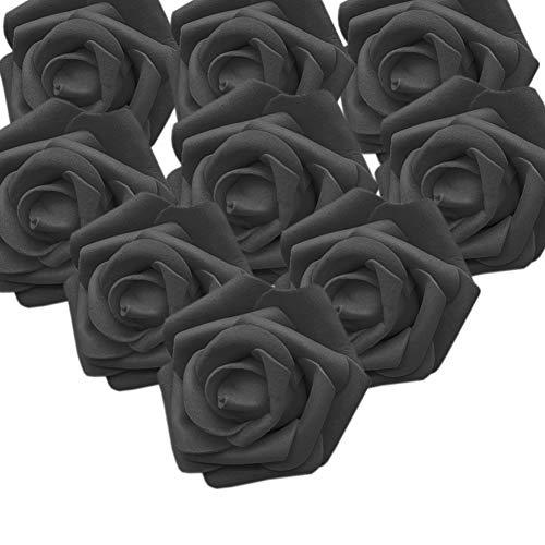 RunFar 50er Schaumrosen Künstliche Blumen Rosenköpfe Rosenblüten Rosa Foamrosen zum Basteln Brautstrauß DIY Party Hause Hochzeit Deko (Schwarz)