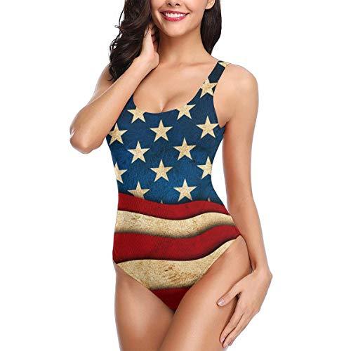 Damen One Piece Badeanzüge Star und Streifen American USA Flag Sexy Athletic Badeanzug