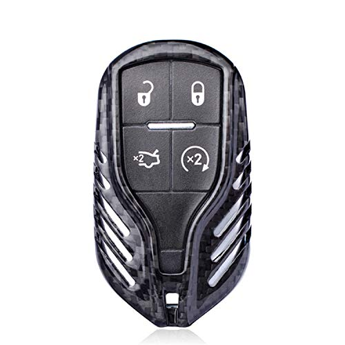 Carbon Fiber Key Fob Cover Fit for Maserati Key Fob Remote Key, Fits Maserati Levante Quattroporte Ghibli Smart Keyless Car Key, Light Weight Glossy Finish Key Fob Protection Case - Black