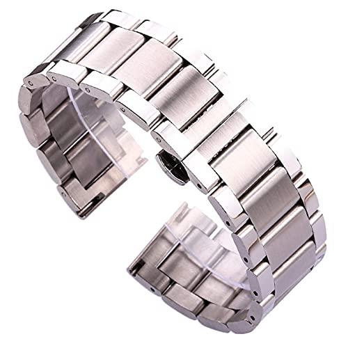 RVTYR Reloj Correa, Brazalete de Reloj de Acero Inoxidable 18 20 21 22 23 24mm Azul Silver Metal Reloj de Metal Correa Pliegue Despliegue Brazalete Correas de Repuesto