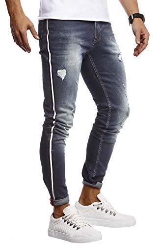 Leif Nelson Herren Jeans Hose Stretch Slim Fit Denim Blaue Lange Jeanshose für Männer Coole Jungen weiße Freizeithose Schwarze Cargo Chino Sommer Winter Basic LN9415 Blau W32L30