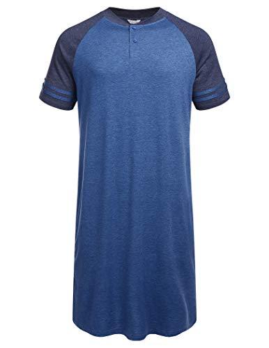 ADOME Camisón de manga corta para hombre, de verano, una sola pieza, pijama corto, camisón de dormir para hombre, camisón de dormir Azul-c L