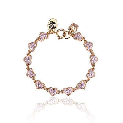 SSN Estilo De Moda En Forma De Corazón Diamante Crown Collant Personalizado Pink Love Women's Simple Pulsera De Estilo para Damas