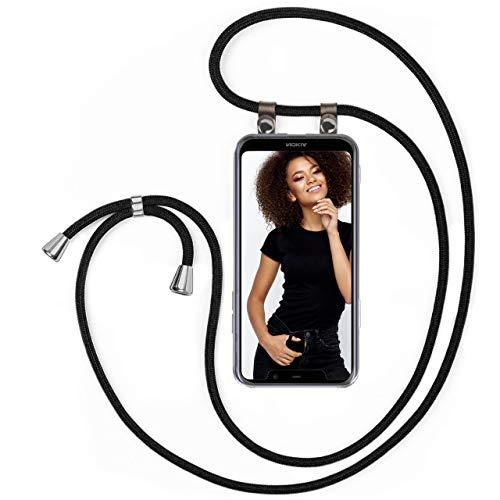 moex Handykette kompatibel mit Nokia 5.1 Plus - Silikon Hülle mit Band - Handyhülle zum Umhängen - Hülle Transparent mit Schnur - Schutzhülle mit Kordel, Wechselbar in Schwarz
