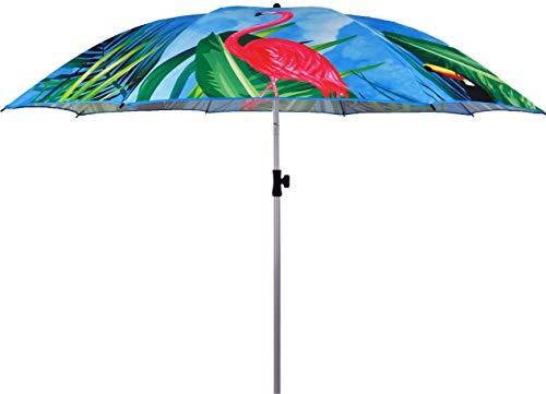 matrasa Sonnenschirm Tropical Flamingo & Papagei mit UV-Schutz Knickgelenk höhenverstellbar Ø 184 cm Blau