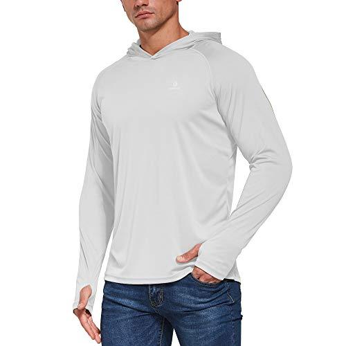 Ogeenier Herren UV Shirt mit Kapuze Sonnenschutz Langarm Shirt Funktionsshirt Sun Hoodie mit Daumenloch