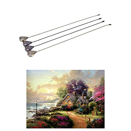 Monland 4Pcs Desk Light Pendant Beaded Ball Ceiling Fan Pull Chain with Paint By Numbers Landscape Kits- Fairyland Scene