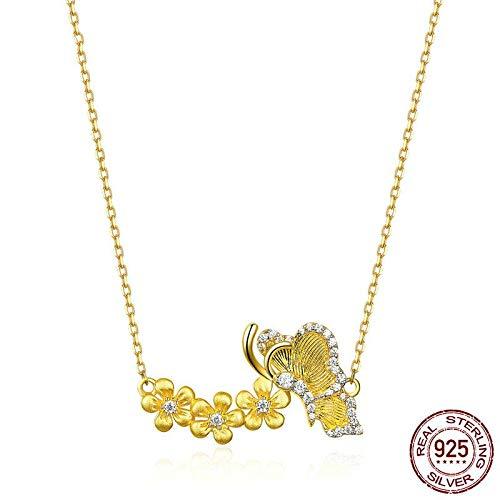 GMZTT Vlinder Met Bloem Korte Choker Ketting Voor Vrouwen Gouden Kleur Echte 925 Sterling Zilver Weding Sieraden