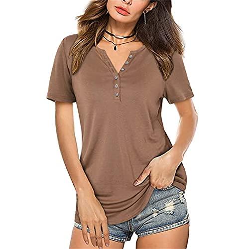 PRJN Camiseta con Cuello en V para Mujer Camiseta con Botones de Manga Corta Camiseta con Cuello en V de Manga Corta para Mujer Camiseta Suelta con Cuello en V para Mujer Camiseta Suelta