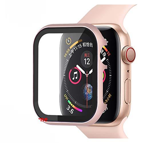 MPWPQ Caja de Cristal + Marco Matel para el Reloj Apple 5 4 3 44mm 42mm para la Banda de iWatch 40mm 38mm Metal Bumper All-Alrededor Protector de Pantalla Marco de la Correa de Reloj
