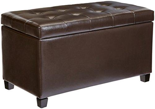 First Hill Matteo Faux-Leather Rectangular Storage Ottoman, Dark Chocolate