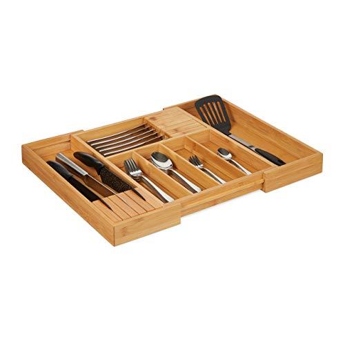 Relaxdays 10027482 Bamboe Bestekbak, Uitschuifbaar, 2 messenblokken, Lade Inzet met 5-7 vakken, HWD 5x56x43 cm, Natural, MDF Boards