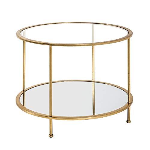Haku-Möbel Beistelltisch, Spiegelglas, Sicherheitsklarglas, Gold, Ø 60 x 45 cm