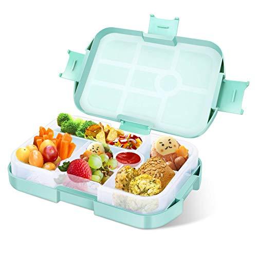 Lunchbox Kinder Bento Box, Brotdose mit 6 Unterteilungen Fächern, Robust und Auslaufsicher Brotzeitbox für Kinder Erwachsene, Praktische Jausenbox für Kindergarten, Schule, Picknick und Reisen Grün