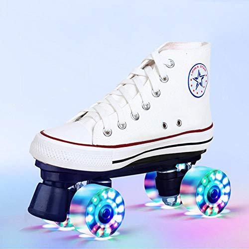 Longxs Classic Roller, Eisbahn professionelle Coole LED blinkende Rollschuhe Zweireihige Rollschuhe Erwachsenensport für Mädchen und Jungen-42