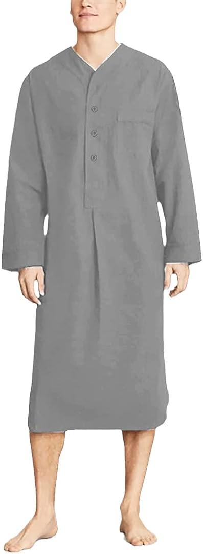 Men Robes V Neck Long Sleeve Sleepwear Button Cozy Homewear Loose Bathrobes
