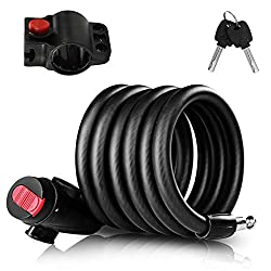 1.The bicycle lock (120 cm) consists of a 12 mm steel braided cable coated with PVC to prevent corrosion and easy cutting. The locking core and shackle made of hardened zinc alloy are designed to withstand the elements and most potential thieves. 2.S...