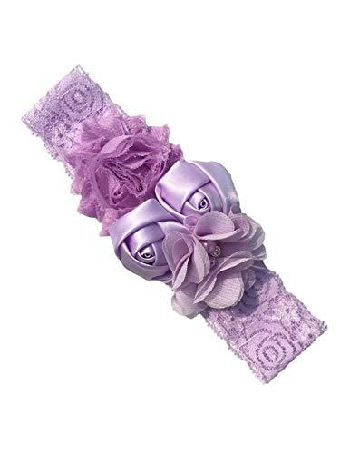 GDYX Accessoires de Cheveux Rose Hair Band Mousseline de Soie Fleur Dentelle Élastique Strass Hair Band Accessoires de Cheveux pour Enfants Taille pour 12 Lilas