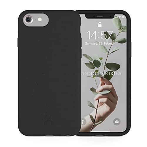 Woodcessories - Handyhülle kompatibel mit iPhone SE 2020 Hülle schwarz, iPhone 8 Hülle schwarz, iPhone 7/6 / 6s - Nachhaltig, aus Pflanzen