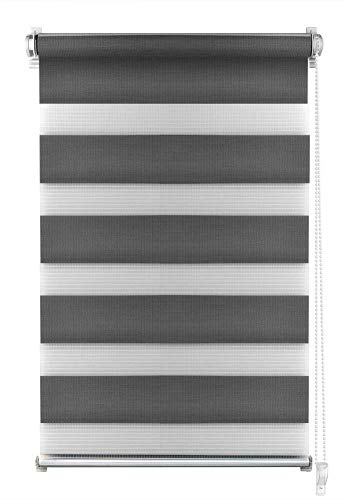 S SIENOC Doble persiana Enrollable Duorollo Estor Enrollable Doble Tejido Persiana para Las Ventanas de Oficina Estar Dormitorio (Gris, 45x150 cm)