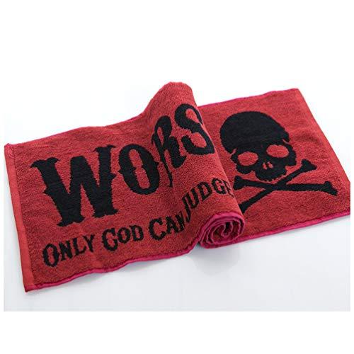 Cabilock Toalla de impresión cráneo Deportes Toallas de baño Toalla Toallas Gimnasio Sudor de la Playa de Ejecución de Yoga Fitness Camping 2pcs Rojo