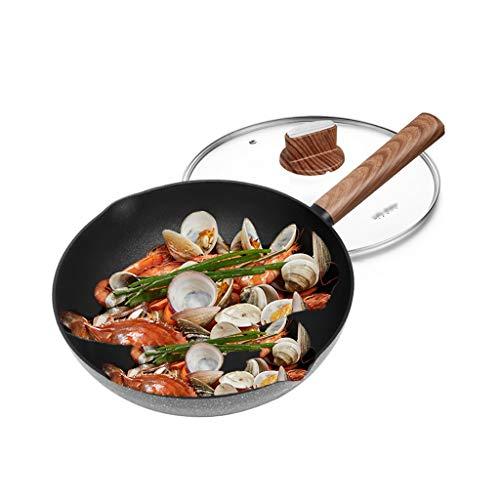 Wok Wok E Stir Fry Pans Leggero Patinata Wok Domestica Maifan Stone Non Grassa Fume Wok (Color : Gray, Size : 32cm)