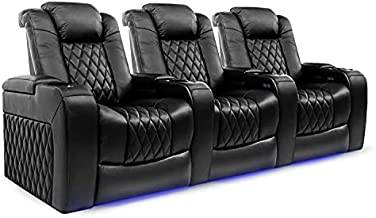 Valencia Tuscany Home Theater Seating   Premium Top Grain Italian Nappa 11000 Leather, Power Reclining, Power Lumbar Support, Power Headrest (Row of 3, Black)