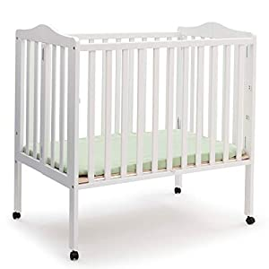 Delta Children Folding Portable Mini Baby Crib with 1.5-inch Mattress, White