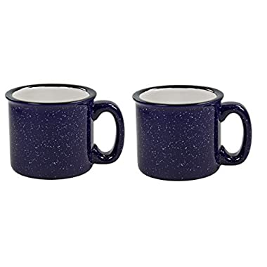 Santa Fe Campfire Coffee & Tea Mug Perfect For Camping or Home , Cobalt Blue 15 oz (Pack of 2)