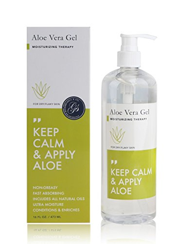 Aloe Vera Gel - Moisturizing Therapy (16 fl oz) with Pump - Moisturizer For Dry, Flaky Skin, Sunburn, Acne, Razor Burn, Psoriasis, Eczema & Other Skin Irritations - Skincare by Grace & Stella Co.