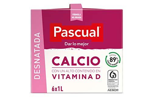 Leche Pascual - Calcio Leche Desnatada, Calcio natural - 1 L (Paquete de 6)