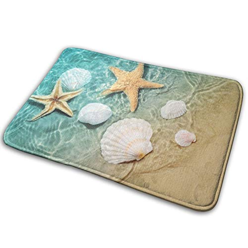 Bath Mat Starfish and Seashell Summer Beach Bathroom Rug Polyester Front Door Mat Rugs Carpet for Inside Outdoor 15.7 X 23.5 in
