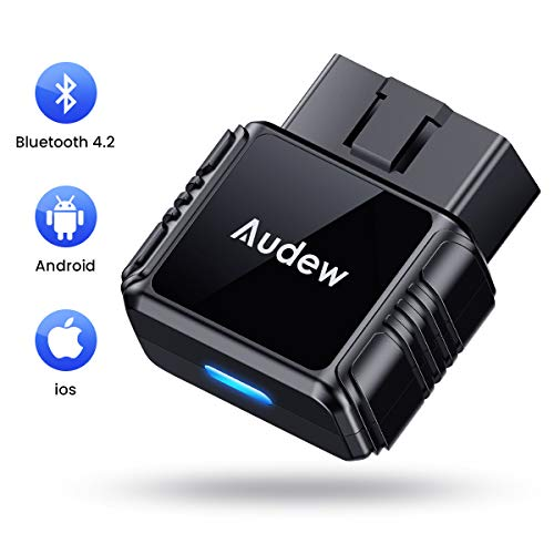 Audew OBD2 Scanner - Bluetooth4.2 OBDII Car Diagnostic Trouble Codes for iOS and Android - Universal Fit Vehicle Engine Check Tool Wireless Bluetooth OBD2 Scanner with Free App and Battery Test
