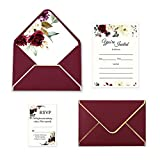 Best Wedding Invitations - Doris Home 25pcs Burgundy Invitations Cards with Burgundy Review