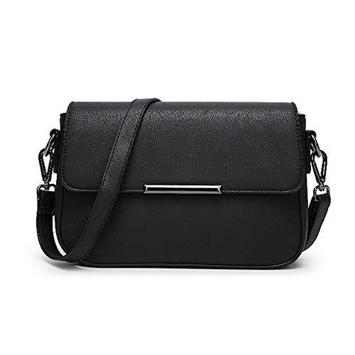 wewo Einfarbig umhängetasche damen kleiner lässig schultertasche mädchen Modisch handtasche shopper henkeltasche PU leder crossbody Paket (Schwarz)
