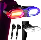 DON PEREGRINO B3 - 110 Lumens Ultra Bright Bike Rear Light White Red/Blue, LED Rechargeable Bicycle Tail Light with 6 Modes