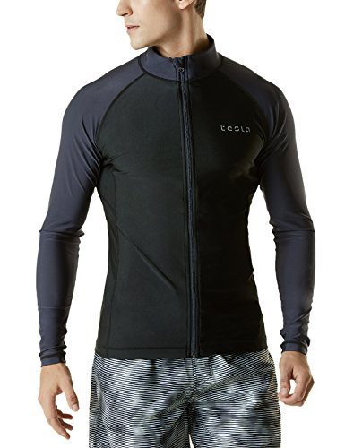 TSLA Men's UPF 50+ Zip Swim Front Long Sleeve Top Rashguard, Solid(msz03) - Black/Dark Grey, Medium