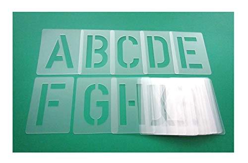 Buchstabenschablone Nr.35 | 1 Satz Buchstaben 15cm hoch | A-Z + 4 Sonderzeichen | 30 einzelne Schablonen | Stencil | Wandschablone