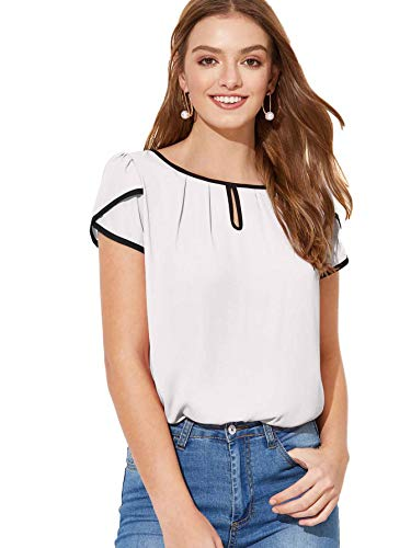 Milumia Women's Casual Pleated Petal Cap Sleeve Round Neck Keyhole Blouse Top White Small