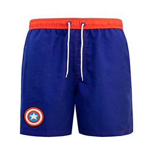 Marvel Uomo Captain America Costume da Bagno Pantaloncini Blu X-Large