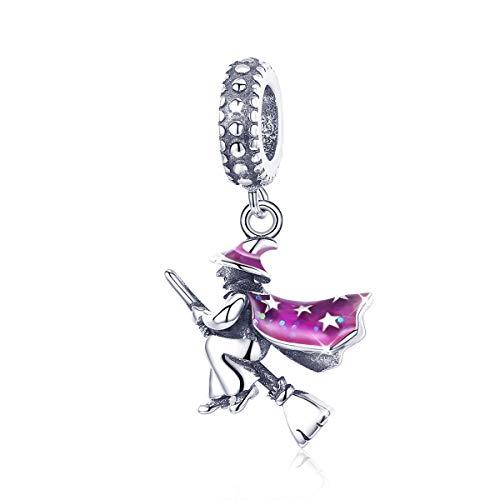 Abalorio de bruja mágica de plata de ley 925 con diseño de bruja de Halloween, esmalte morado, para pulsera
