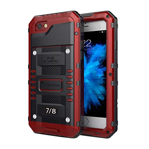 "Waterproof Heavy Duty Protective Case for iPhone 7 /iPhone 8 /SE 2020, 4.7"" Inch with Aluminum Frame Body Rugged Hard Silicone, Military Grade with Built-in Screen Protector Drop Defend (Red)"