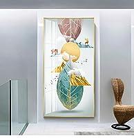 キャンバス絵画ゴールデンツリーディアグリーンリーフフェザーモダン抽象リビングルーム写真エルクフライングスワローアート壁画-40x80cmフレームなし