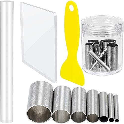 N/AA 10 Kit di Strumenti per Argilla Fai-da-Te, Modellazione di Argilla Polimerica, Stampo per Taglierina, Raschietto per Argilla, Rullo per Argilla Acrilica, Acciaio Inossidabile e Facile da Pulire