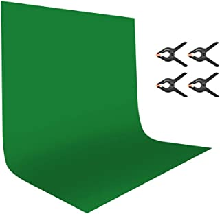 UTEBIT 6x9ft/1.8x2.8mGreenScreens Backdrop 100% Polyester Backdrop Cloth Chromakey Green Photography Background Collapsi...