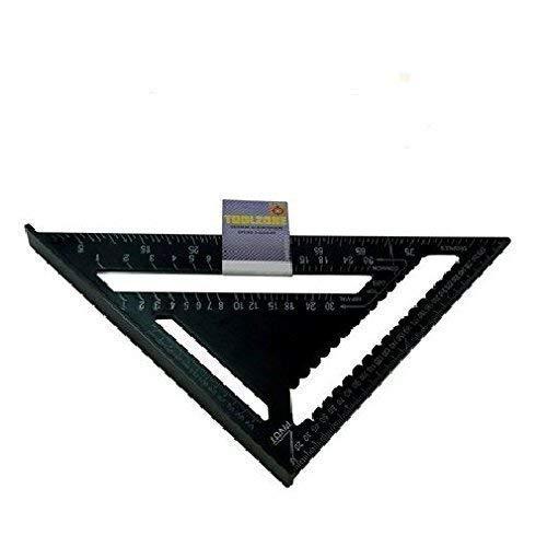 Toolzone 12' Resistente Alluminio velocità Quadrato Strumento di Misura Copertura Tetti Triangolare Falegnameria Nero - Nero, 12'