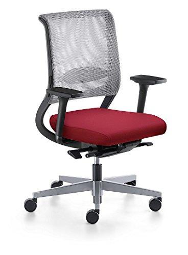 Sedus Netwin – Bürostuhl mit Netzrücken, Similar, Lendenwirbelstütze, verstellbare Armlehnen, Stoff rot